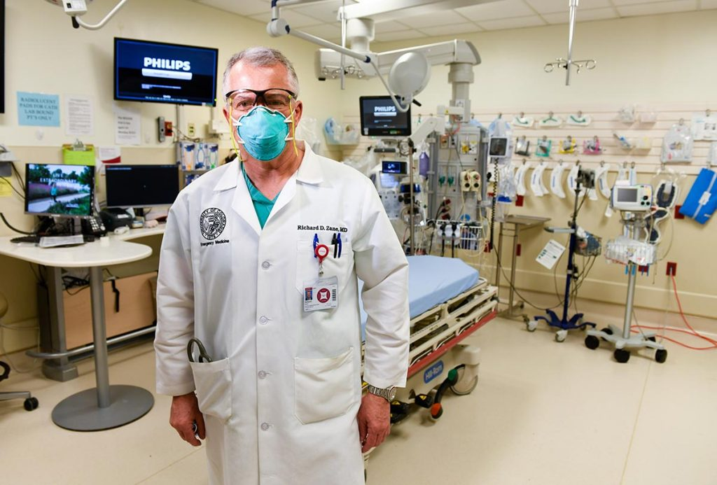 The Colorado COVID-19 spike this fall is setting records. Dr. Richard Zane poses in the Emergency Room at UCHealth University of Colorado Hospital.