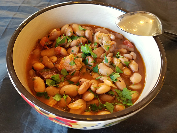 Frijoles charros or cowboy beans are a great dish for solo cooks.