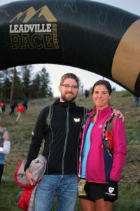 This photo shows a man and woman prior to a 50 mile race.