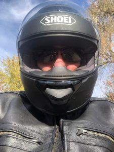 Dr. Richard Zane in his motorcycle helmet.