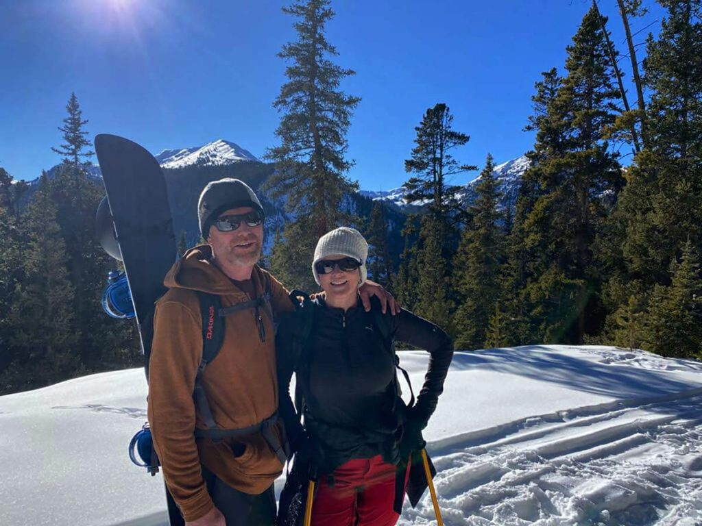 Wim Haverhals and wife Kristi on the way up Santa Fe Peak in early December, 2020, limb-lengthening surgery..