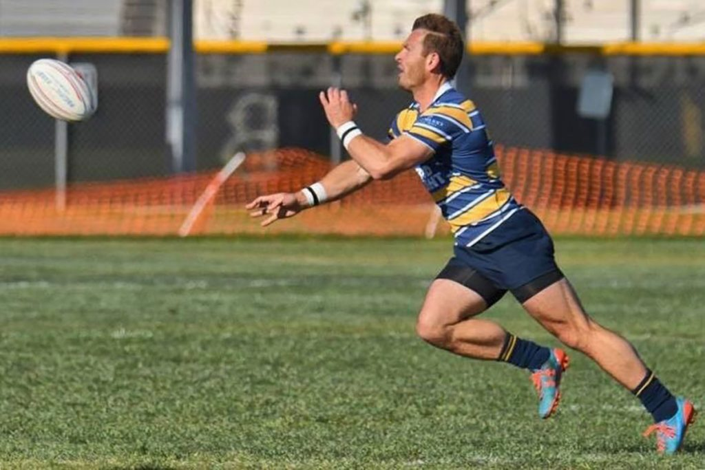 Jonathan Gray in action on the rugby field. Photo courtesy of Jonathan Gray.