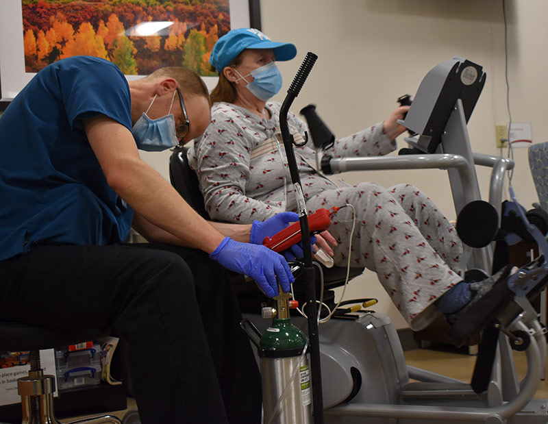 Deb Hoffman in rehab at UCHealth Poudre Valley Hospital after battling COVID-19.