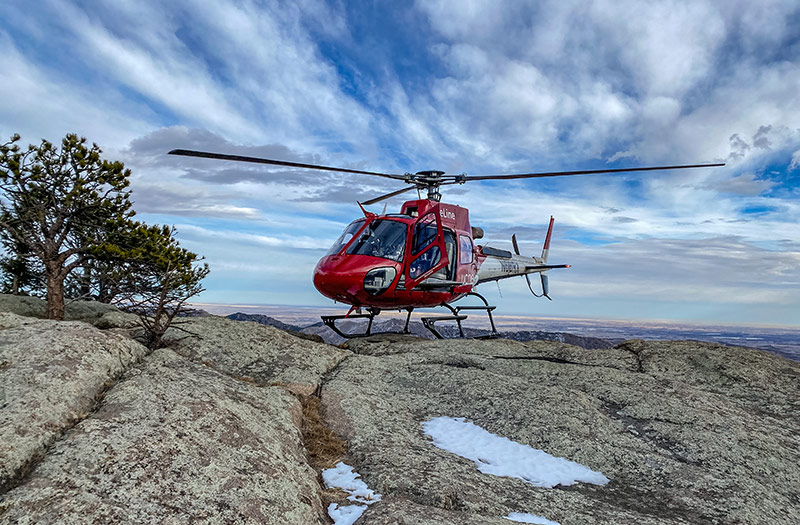 LifeLine medical helicopter atop of Greyrock mountain summit during the hiker rescue on Jan. 7, 2021. Photo by Samual Boyer-Groff, UCHealth LifeLine.