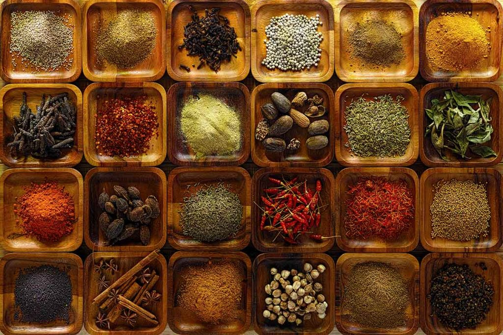 An array of Indian spices used for Indian cooking