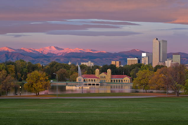 Among the great parks in Denver's backyard is City Park. Here we see the iconic view of Ferill Lake with the City Park Boathouse and downtown and the mountains to the west. Photo: Getty Images.