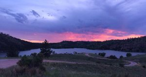 Crow Reservoir, part of Curt Gowdy State Park in Wyoming, at sunset.