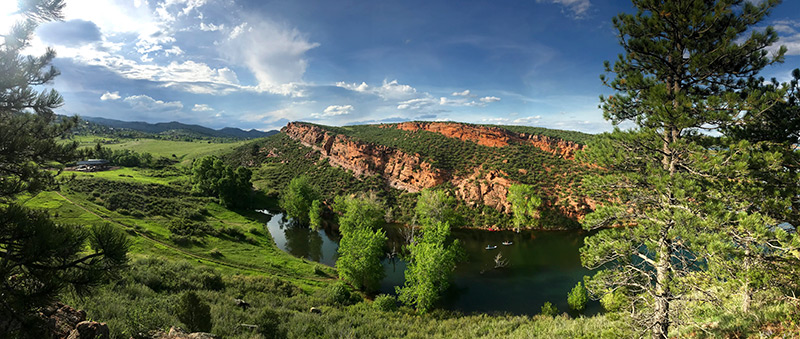 A view of Horsetooth Reservoir's Soldier Cove from a trail at Lory State Park in Colorado.