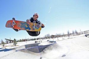 guy skateboarding at Spring Canyon Community Park in Colorado.