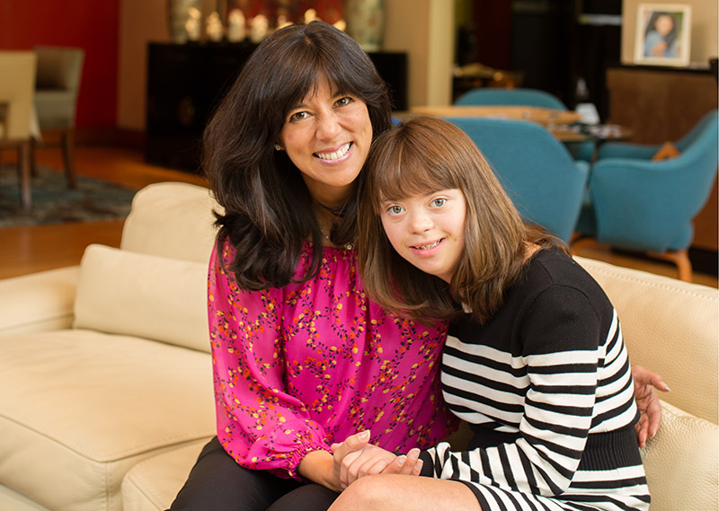 Michelle Sie Whitten with daughter Sophia. Whitten is president and CEO of the Global Down Syndrome Foundation, which helped to fund new research that links the severity of COVID-19 with antibody production.