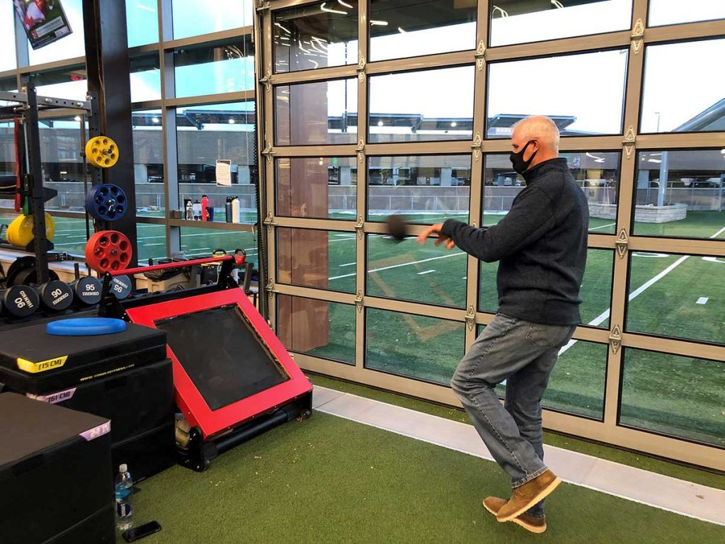Randy Voss rehabs at UCHealth Steadman Hawkins Clinic – Denver after his successful ankle replacement surgery last year. He completed a patient outcomes survey that helps improve orthopedic procedures at the clinic.. Photo courtesy of Randy Voss.