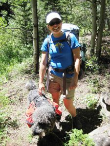 Vanessa Rollins backpacking with her dog - Rollins gives advice on restoring human connections