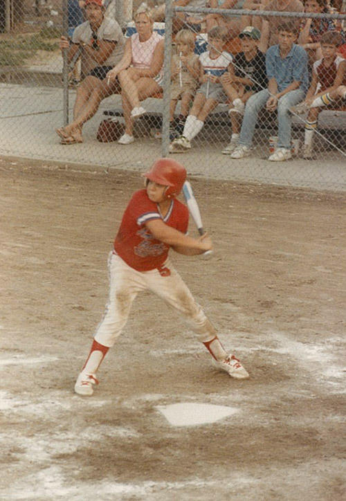 Brian Rodgers playing baseball as a child, after which they'd always go out to eat barbecue. He created his own plant-based BBQ when he changed to plant-based eating.