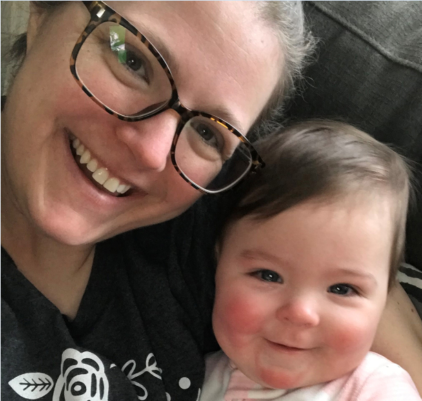 Anna Spiessbach with her baby girl, Rylie, who she was pregnant with during her diagnosis of tongue cancer.