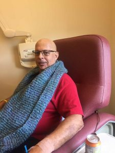 Robert Plick during chemotherapy treatment to treat his lymphoma. Through the ordeal he did not miss a day of work. Photo courtesy of Robert Plick.