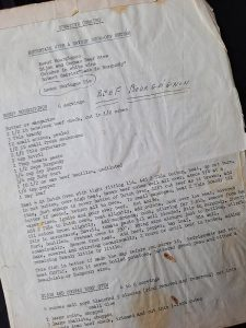 A favorite Mother's Day recipe for Bill St. John - stained paper with recipe for Boeuf Bourgignon