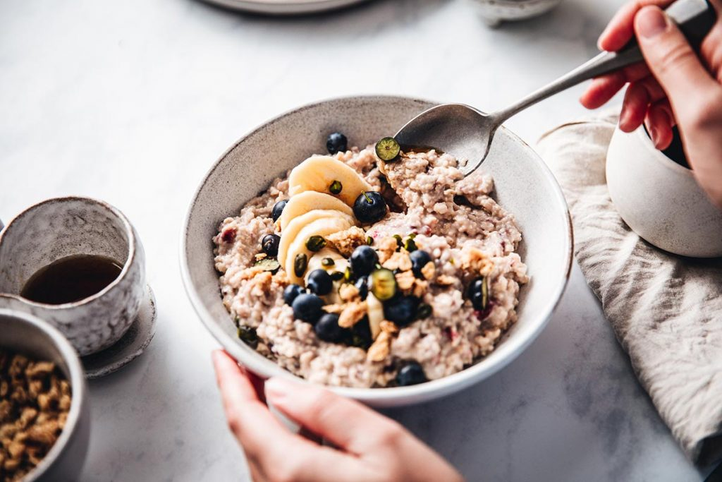 bowl of oatmeal. Good nutrition will help build up your immune system.