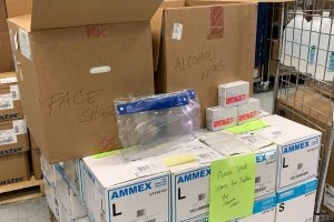 A photo showing boxes of medical supplies that are headed to India to help out with COVID-19 crisis.