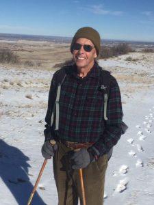 Mel Preusser on a winter hike in Douglas County Open Space. Preusser regularly exercises to manage his Parkinson's disease symptoms. Photo courtesy of Mel Preusser.