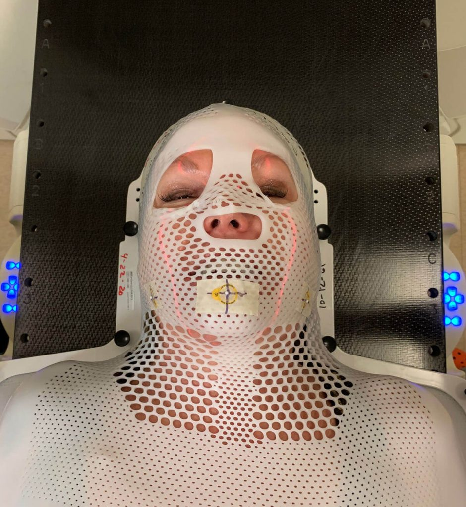 Sadler undergoing radiation therapy for a lymph-node tumor.