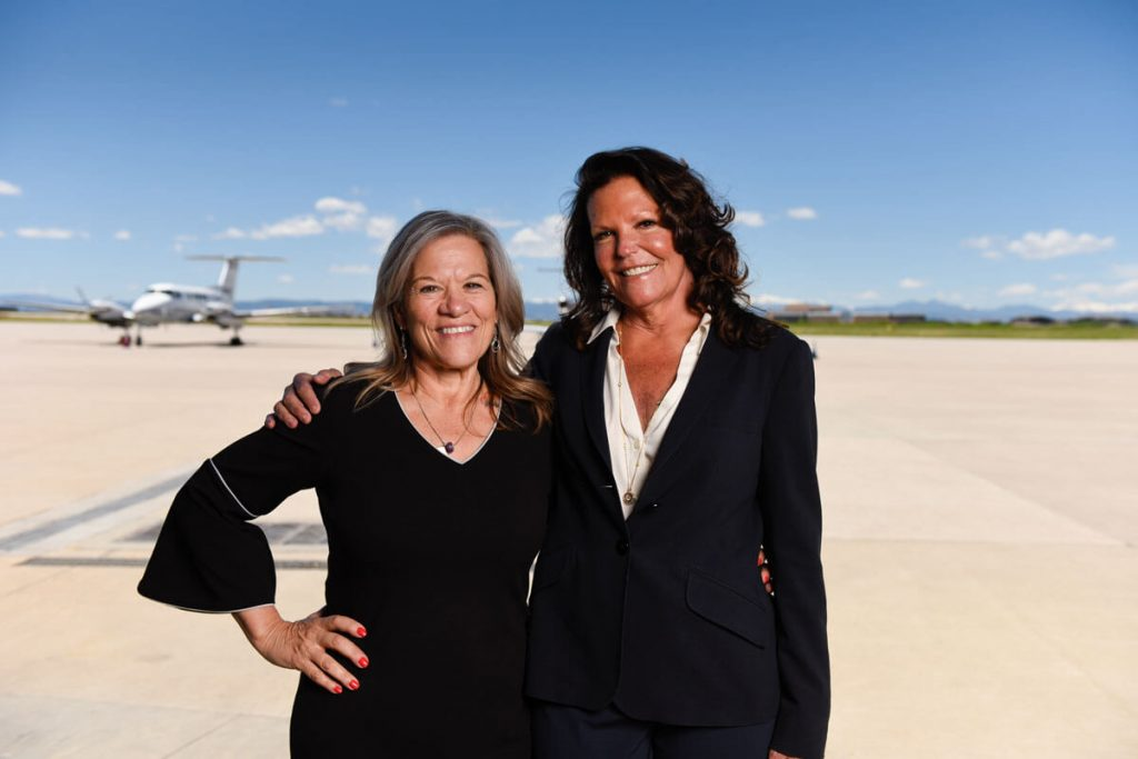 Sadler, a stage 4 lung cancer patient, with friend and Modern Aviation colleague Janet Gallagher.