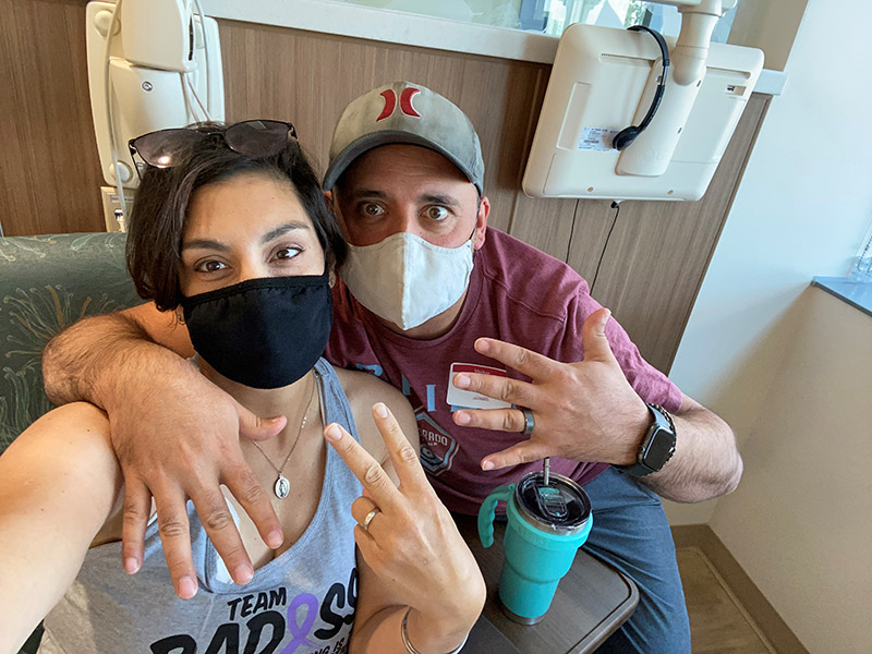 Cathy and Tony pane mark the 12th and last chemotherapy appointment for her small bowel cancer.