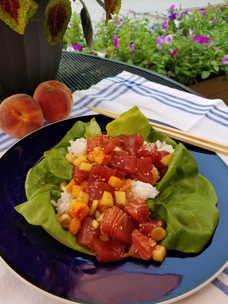 A variation on cooking plain poke is to add some cubed cucumber and peach, perfect at this time of year.