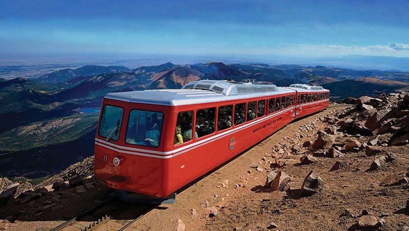 Broadmoor Manitou and Pikes Peak Cog Railway scenic train ride atop of Pikes Peak.
