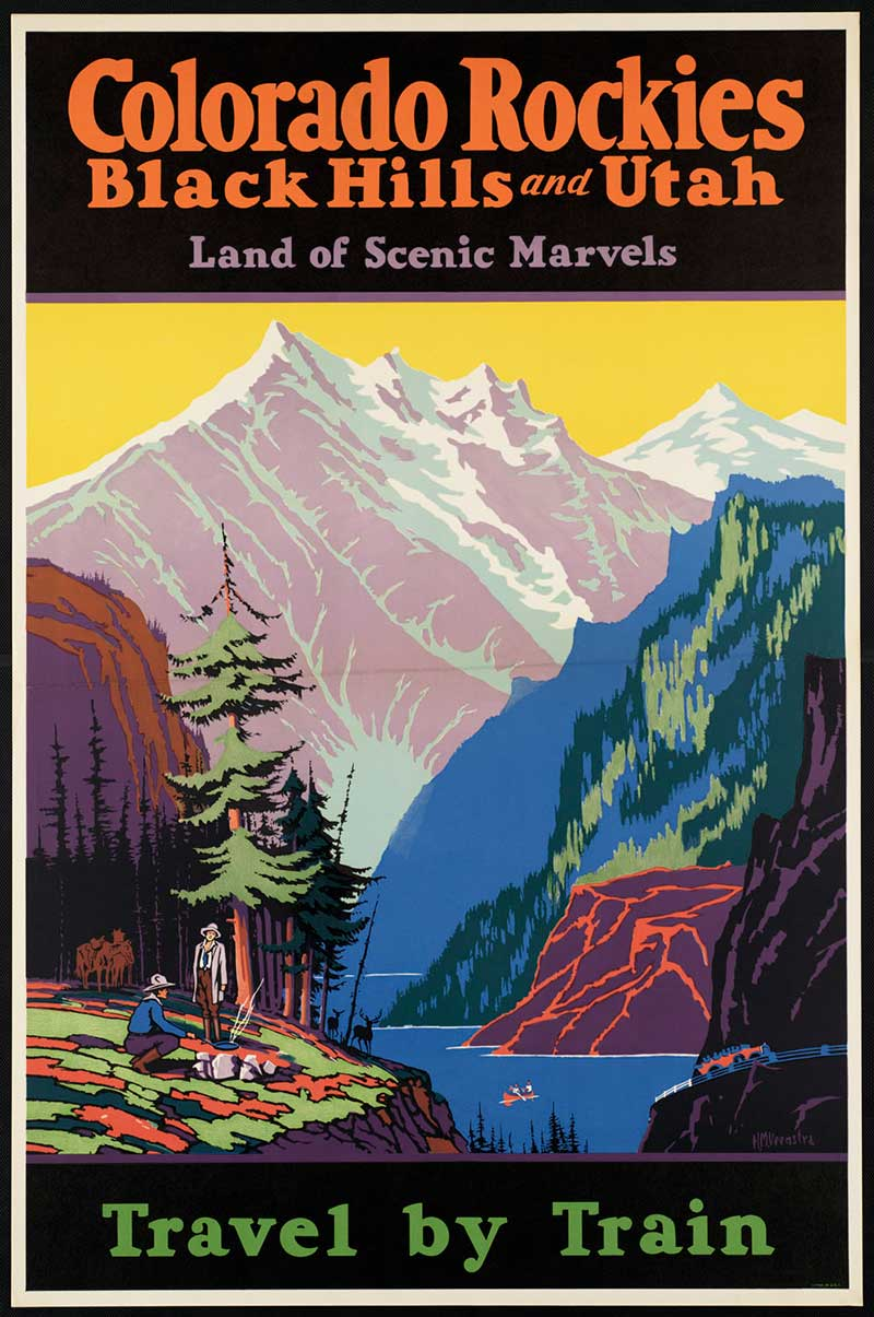 old Colorado rain poster ad promoting scenic train rides in Colorado.