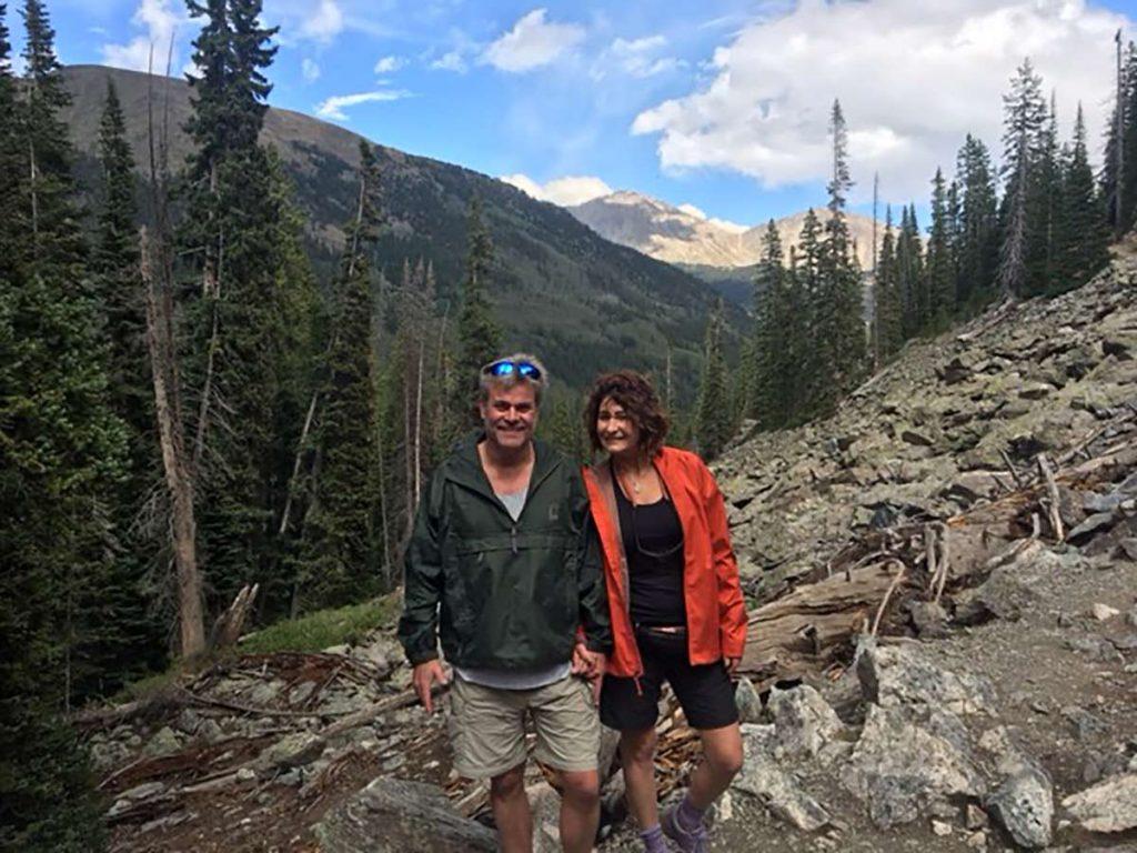 Arlene Nelson and her husband, Bill, hiking a mountain