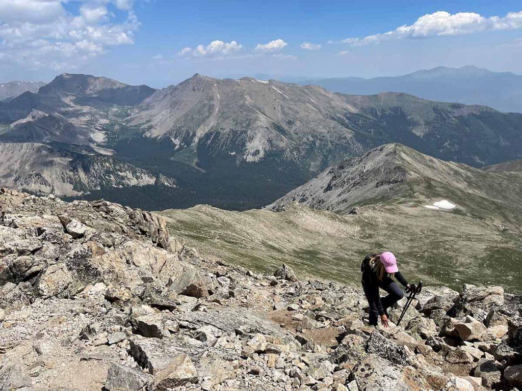 Laurel Komarny climbs a mountain in Colorado.