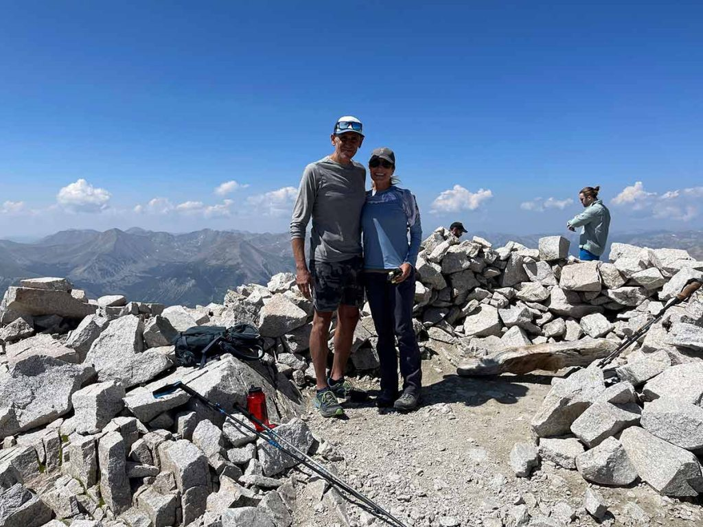 Laurel Komarny and her husband reach the summit of Mount Princeton.