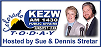 """A smiling Sue and Dennis posed for a promo photo for their public affairs program """"Colorado Today,"""" which ran on KEZW-AM radio from 1999 to 2006. Photo courtesy of Dennis Stretar."""