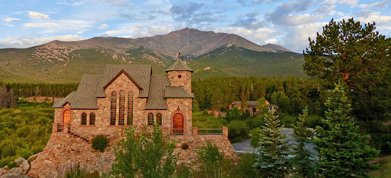 St. Catherine's stone church is a beautiful landmark along the Peak to Peak Highway.