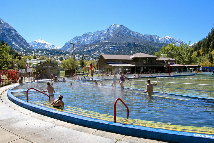 Kids playing in the Ouray Hot Springs, a stop on the San Juan Skyway.