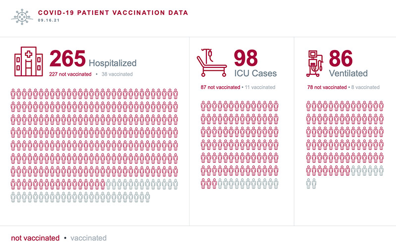 Chart shows that nearly all patients hospitalized with COVID-19 now have not been vaccinated. Infographic.