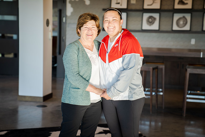 Amy Watanabe with her mother, Pam,
