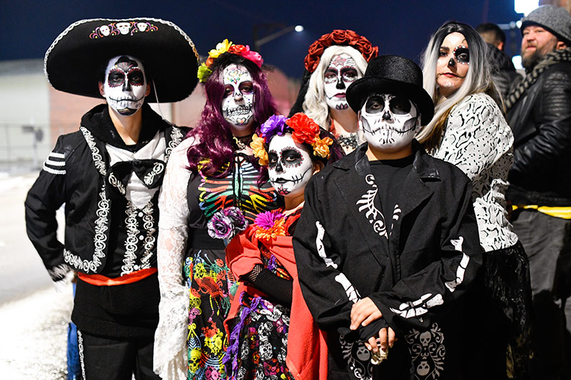 Skeleton costumes are common for Day of the Dead Celebrations.